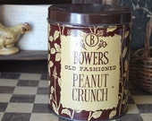 Vintage Bowers Old Fashioned Peanut Crunch Tin Canister Can