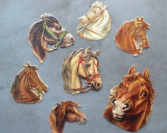 Antique Victorian Horse Head Scraps Lot