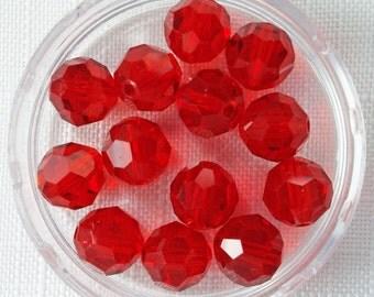 8mm LIGHT SIAM  (20) - Style 5000 Rounds Swarovski Crystals - sku 5000-2048