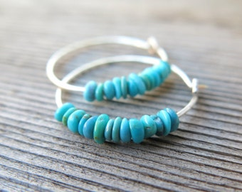 natural turquoise earrings. small sterling silver hoops. Canadian seller in Calgary. turquoise jewelry.