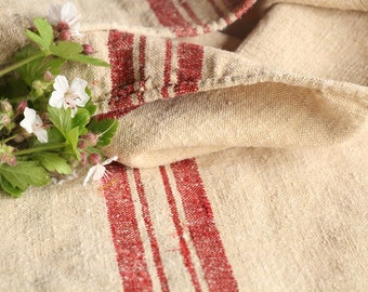 B 193: grain sack,  antique linen, FRENCH RED;  pillow benchcushion;  wedding decoration; christmas, thanksgiving; gift bag
