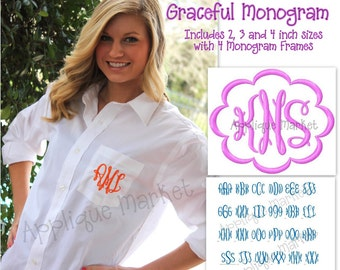Machine Embroidery Design Alphabet Font Graceful Monogram INSTANT DOWNLOAD