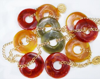 Avon Color Disk Fall Necklace & Pierced Earrings Lucite Jewelry Set, Mustard, Rusty Red, Olive Green, Gold Tone Chain, Signed Avon
