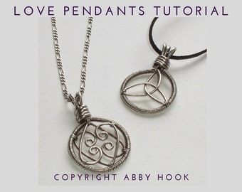 Love Pendants, 2 designs included, Wire Jewelry Tutorial, PDF File instant download with bonus chain tutorial