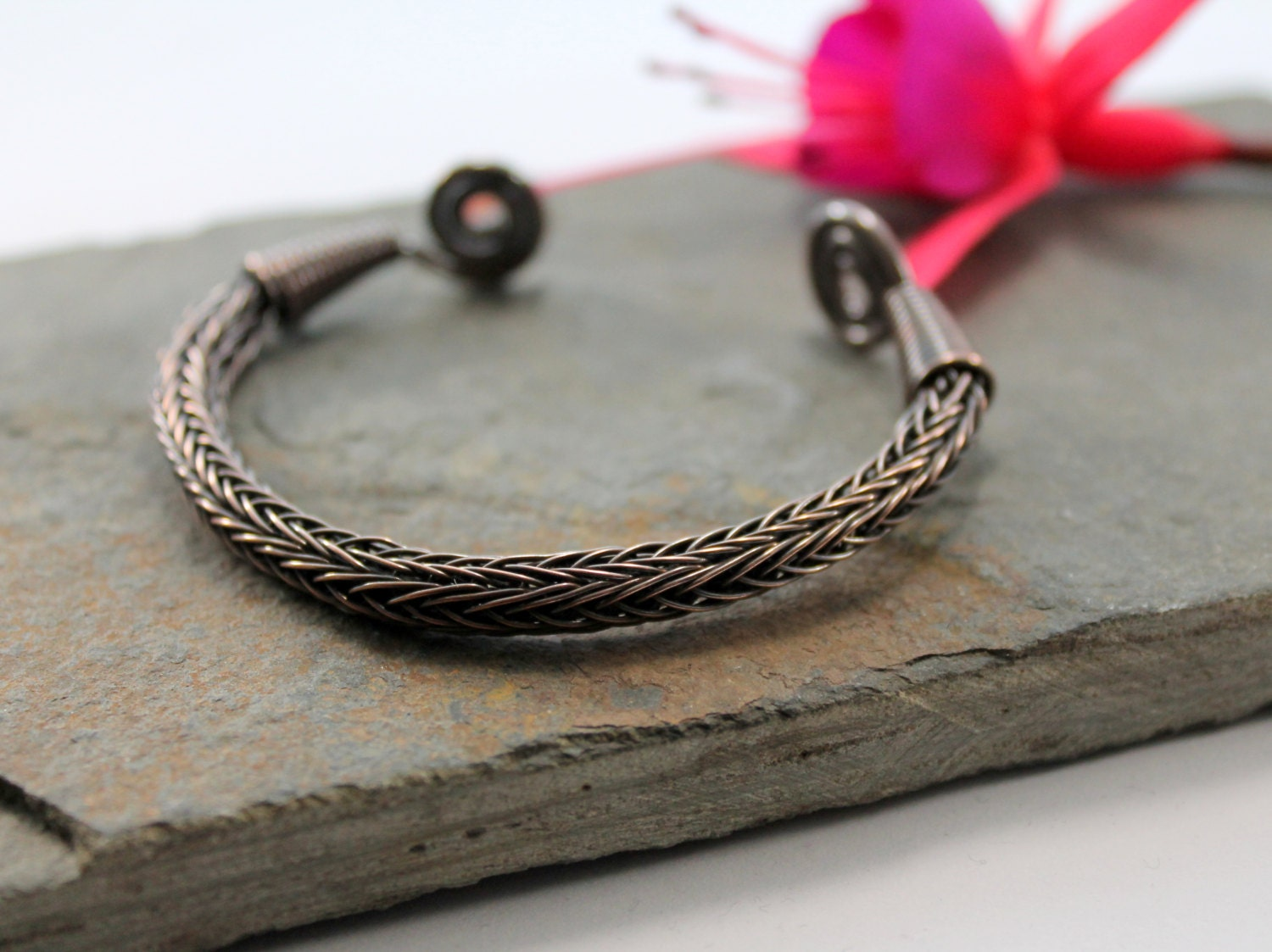 Viking Knit Wrist Torc - Antiqued Copper - small, Celtic Torq or ...
