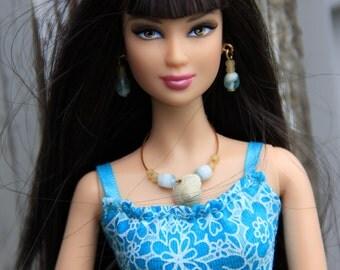 Summer Seashell Necklace Earrings & Bracelet Doll Jewelry Set fits Fashion Dolls 1/6th Scale 11 1/2 - 12 inch dolls