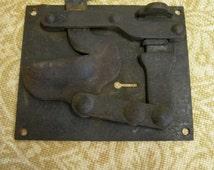 Large Vintage Black Iron Lock - Reliance Lock Company 1903