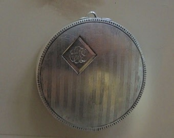 Antique Sterling Silver Pill Box,  Monogrammed  Chatelaine Pill Box, Early 1900's, Unisex Jewelry, Edwardian Style - REDuCED