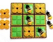 Tic-Tac-Toe Game - Bees and Blooms in Gold