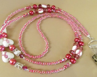 Pink ID Lanyard, Beaded, Breast Cancer Awareness, Pink Ribbon, Cure, Women, Badge Holder, Cause, Cure, Gift Giving, Harleypaws, SRAJD