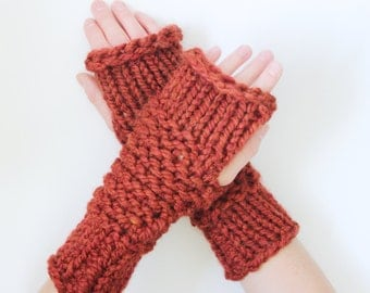 Wool Thick-Knit Fingerless Mittens in Spice - Ready to Ship