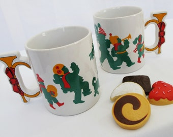 Trumpet Mugs Pair Music Horn Handle Christmas Coffee Cups Novelty Shape Container Teacher Gift Holder Musical Children Red Green Gold