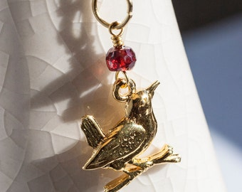 Gold vermeil necklace with bird and garnet, Jenny wren, robin charm necklace