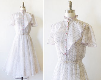 vintage floral dress, 70s floral prairie dress, 1970s white and purple babydoll dress, ruffled boho dress, xxsmall