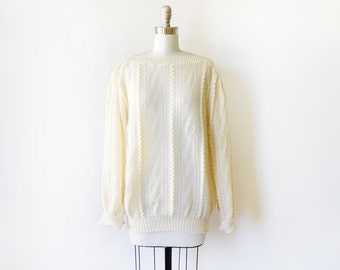 70s cream sweater, vintage 70s pointelle knit sweater, slouchy sweater, xl extra large