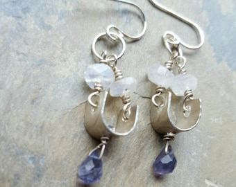 Moonstone, Iolite, Embossed Sterling Silver Earrings
