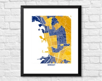 Berkeley Map Print. Choose Your Colors. University of California Golden Bears Graduation Gift.  UC Art.