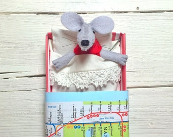 Hand made dolls christmas birthday gift mouse with bed tiny miniature stuffed felt animal red nursery decor girl pre teen gift plushies