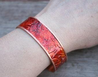 Copper Bracelet, Red Copper Bracelet, Boho Bracelet, Boho Jewelry, Patina Cuff