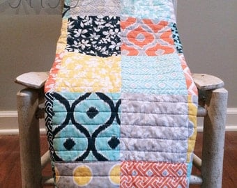 Baby Girl Quilt Stoller Carseat Mint Peach Teal Navy Grey