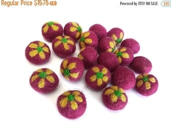 ON SALE 15% OFF Red Felt Balls with Yellow Flower - 20 Pure Wool Beads 20mm