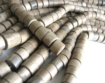 10 Large Taupe Wooden Beads - Wheels Greywood Beads 10x15mm  (PB310B)