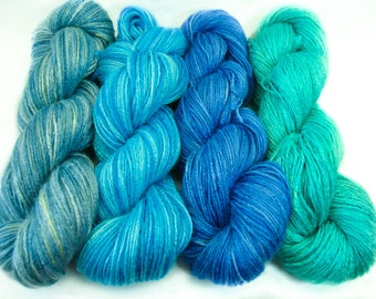 "Vegan, hand dyed bamboo yarn ""In the sea"", organic, azure blue, fingering weight, summer knitting yarn, crochet, weaving, aqua, 3.5 oz"