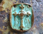 Rich Rustic Turquoise Boho Western Country Cowgirl Handmade Jewelry Cross Pendant Ceramic Clay Pottery