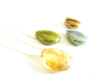 Glass Teardrop Necklace Czech Glass Teardrop Necklace Gold or Sterling Silver