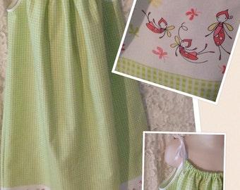 Green FireFlies * sundress pillowcase dress jumper CUSTOM SIZES child 2 3 4 5 6 7 8 10 12 14 your choice - sewnbyrachel