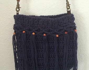 Crochet Denim Blue with Fringe - Free Shipping