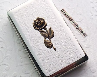 Big Cigarette Case Victorian Rose New Vintage Style Holds 120's Longs Gothic Victorian Steampunk Case Smoking Accessories Large Case Flower