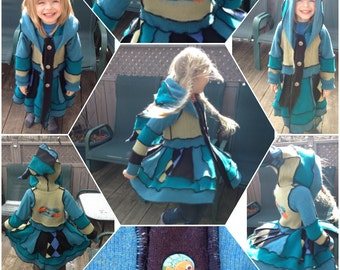 Under the Sea Buttoned Recycled Wool Sweater Coat - Child