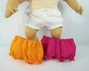"Baby doll clothes, 3 pair bloomers, 15"" doll panties, 15"" doll underwear, Pink white orange, toys dolls accessories, handmade doll clothing"