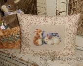 Spring BUNNY Pillow EASTER Rabbits Handmade Country Shelf Sitter