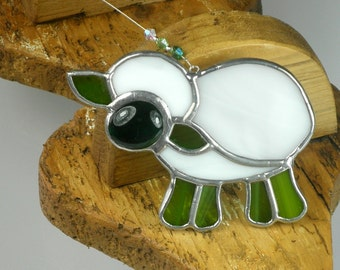 White and green Stained glass Sheep Suncatcher, window ornament & Christmas Decoration