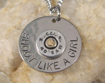 Shoot Like a Girl with 40 Smith and Wesson Bullet Necklace