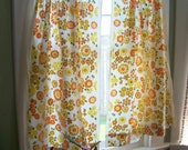 Vintage Bahama Garden Cotton Cafe Curtain Panels Retro Flower Power Kitch Fabric