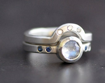 rose cut moonstone ring set, sterling silver moonstone ring with sapphire and diamond flush sets, hand fabricated