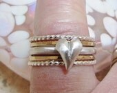 Special Valentines Edition Hand Sculpted Heart and Stacking Ring Set with Twist Rings or Gold Filled Stackers