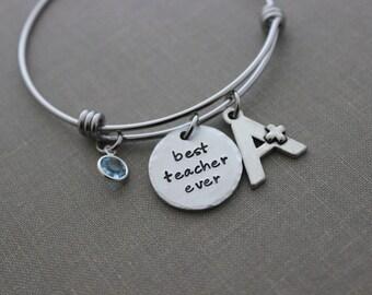 best teacher ever, teacher appreciation week, A+ teacher bracelet, teacher thank you gift, stainless steel bangle charm bracelet birthstone