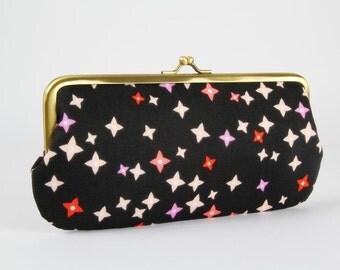 Eyeglass frame purse - Floret in pink - Long purse / Eyeglass fabric case / Cell phone holder / Vignette Cloud9 / Dark brown pink purple red