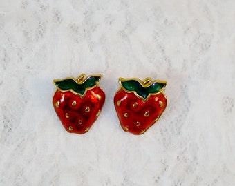 Cute Strawberries Enamel Gold Tone Pierced Earrings