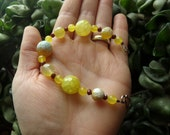 Yellow Agate with Yellow Jade & Glass Bracelet