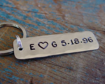 Couples Key Chain, Personalized Initials, Custom Wedding Date, Hand Stamped, Anniversary Gift, Silver Gift,Husband Gift,Wife Gift,Engagement