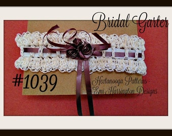 Crochet PATTERN - BRIDAL GARTER, wedding accessories- Lacy Garter, easy pattern # 1039, Make Any Size, Plus size, oversize,
