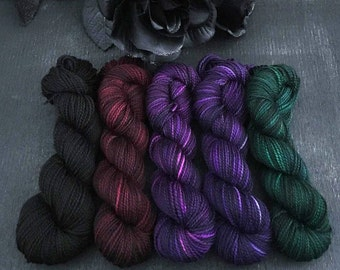 Goth Garden Mini Skein Set - Hardcore Sock Yarn - 460 Yards - Superwash Merino Nylon