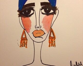 Lena, 9 x 12 mixed media, paiting, water color paper, wall art