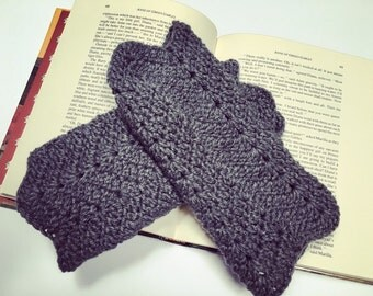 Grey fingerless gloves arm warmers gauntlets crochet in heather gray