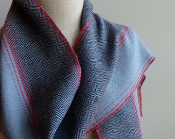 Handwoven Scarf in Lambs Wool Grays and Alpaca and Silk Red for Men or Women